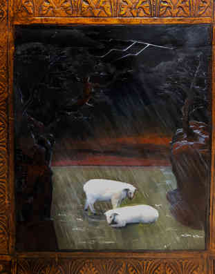 sheep in the rain