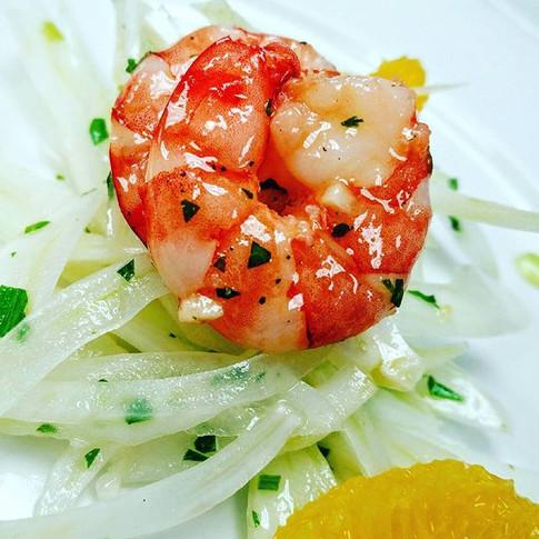 Refreshing fennel+ oranges+ shrimps #foo