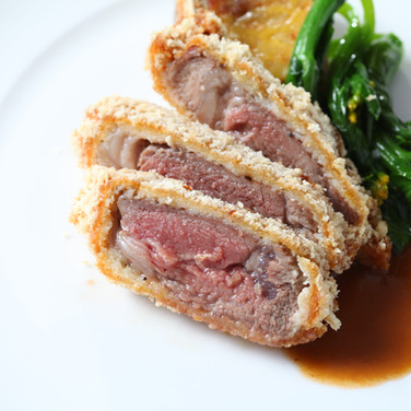 Bread Crusted New Zeland Lamb Chops, Broccolini and Thyme Scented Jus