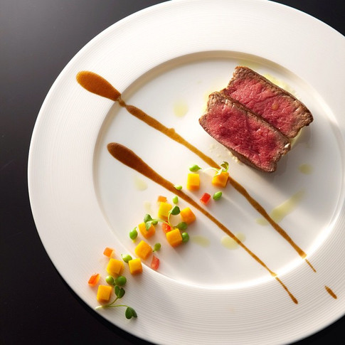 AAA Beef Striploin Tagliata, Spring Vegetables, Port Wine Sauce