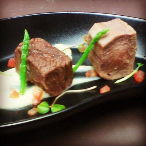 Slow Cooked Alberta Beef Tongue, Light Garlic Sauce, Asparagus