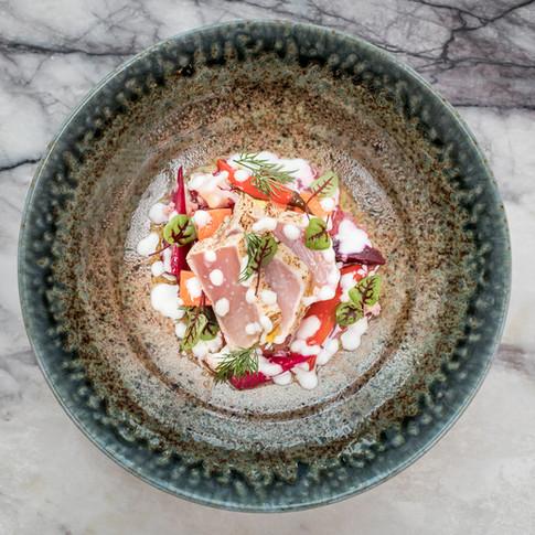 BC Albacore Tuna, Fermented Vevetables, Burrata Sauce