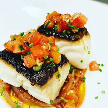 BC Sablefish, Red Onions Marinated with Balsamic, Tomato Salsa & Chives