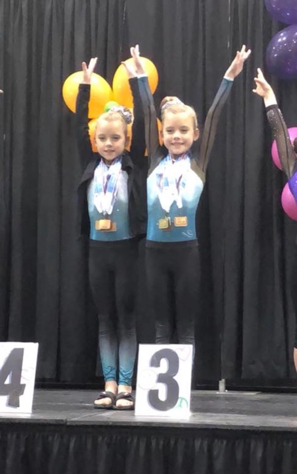 FIF Gymnastics Xcel Bronze Mia and Aniston 3rd AA NC State Championships 2018