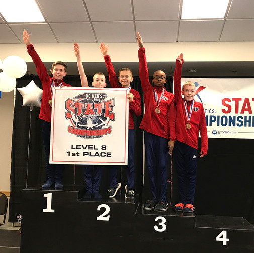 FIF Boys Gymnastics Level 8 1st Place Team NC State Championships 2018
