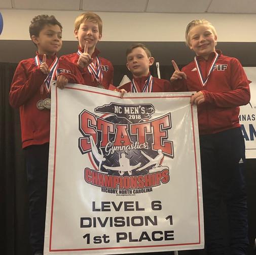 FIF Boys Gymnastics Level 6 1st Place Team NC State Championships 2018
