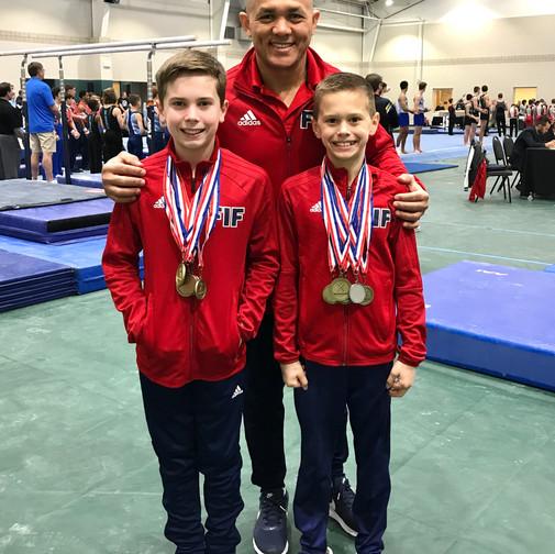 FIF Boys Gymnastics Level 8 Kyler, Ryan and Coach Soto NC State Championships 2018