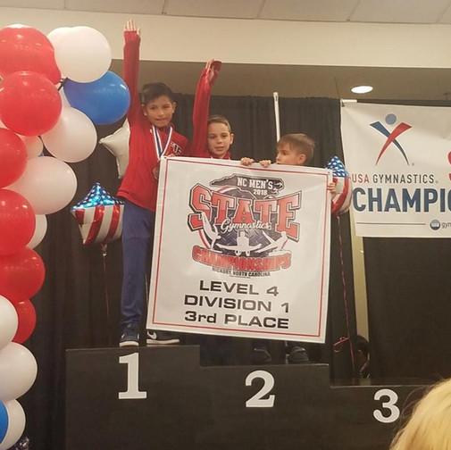 FIF Boys Gymnastics Level 4 1st Place Team NC State Championships 2018