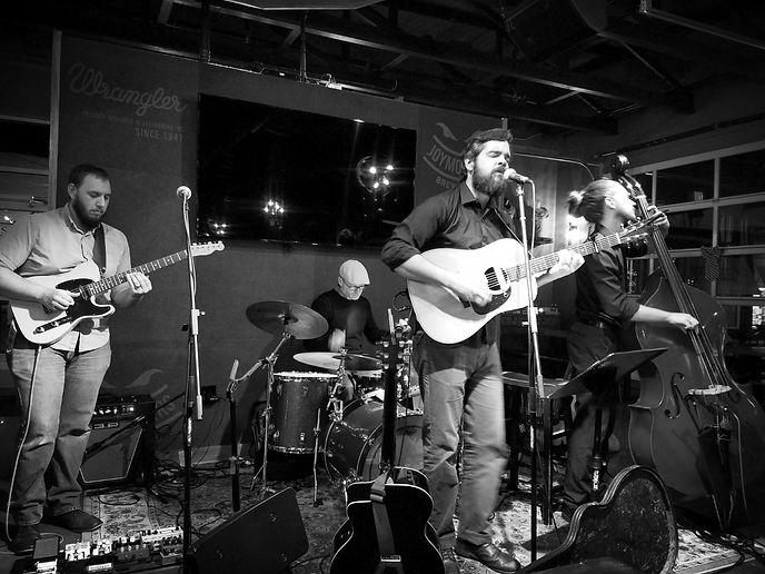 Farewell Friend Band Greensboro, NC Tom Troyer, Evan Campfield, Mark Byerly, Aaron Cummings. Original Singer songwriter folk rock music live show at Joymongers.