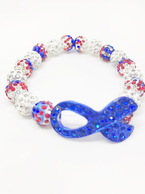 Red White & Blue Pave Disco Beaded Blue Awareness Ribbon Stretch Bracelet