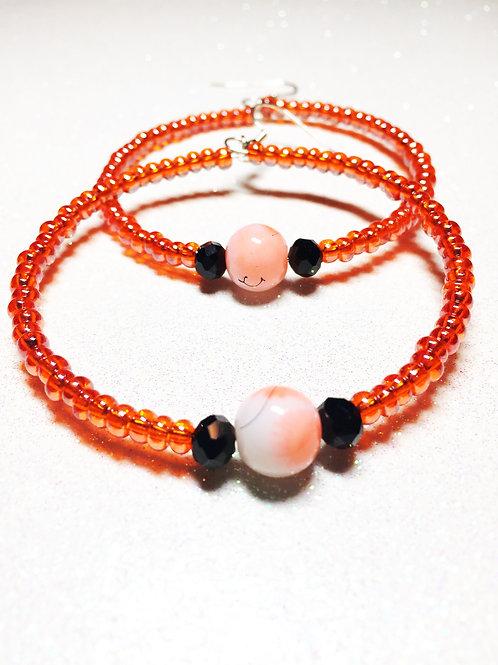 White & Orange Glass & Orange Seed Beaded Large Hoop Earrings