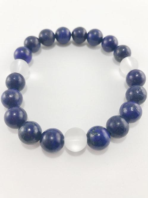 Blue & Translucent Natural Beaded Stretch Bracelet