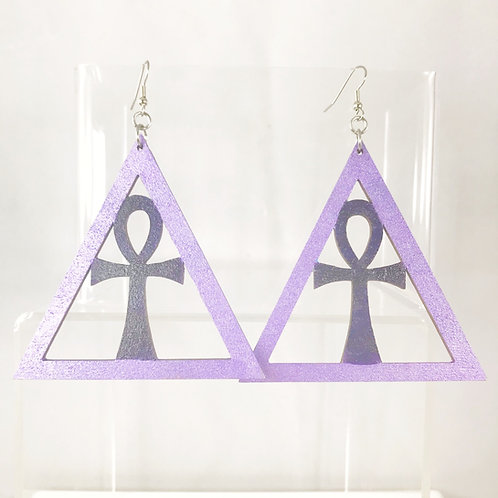 Hand Painted Ankh Wooden Earrings