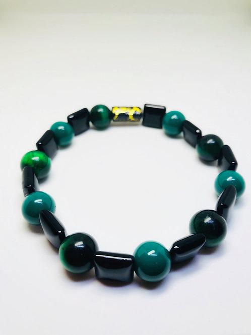 Green Tiger Eye Black Glass Beaded Stretch Bracelet