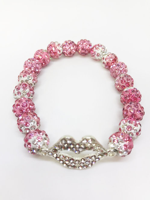 Pink Gradient Pave Disco Beaded Rhinestone Lips Stretch Bracelet