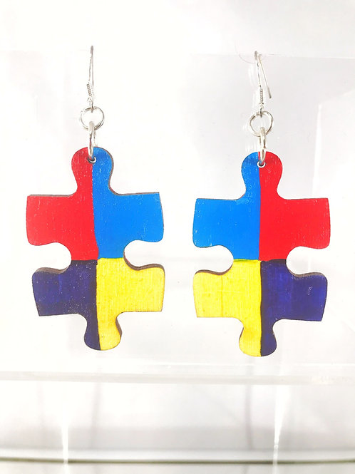 Hand Painted Autism Awareness Wooden Earrings
