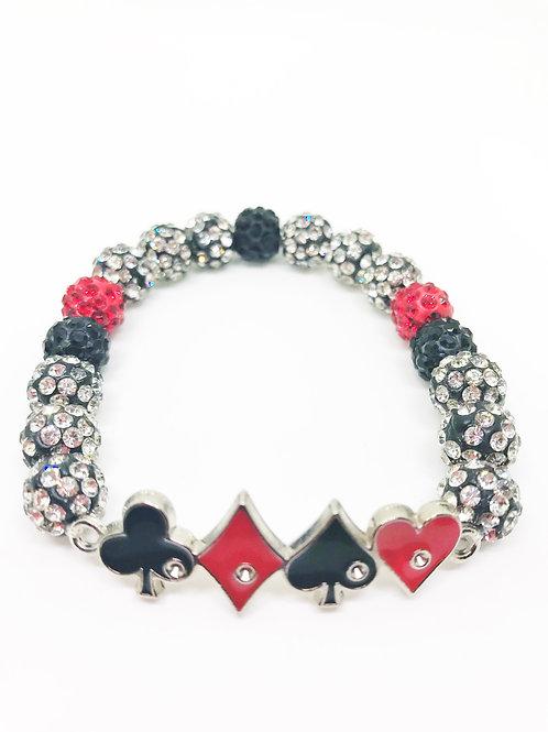 Black & Red Pave Disco Beaded Card Suit Stretch Bracelet