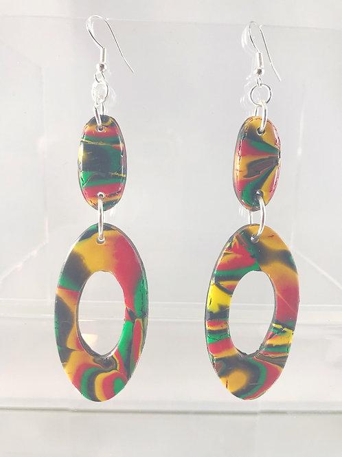 Mokume Gane Dangle Earrings