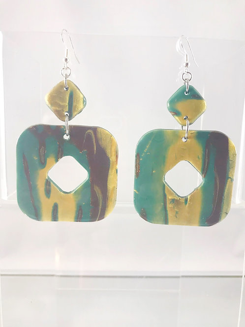 Mokume Gane Dangle Earrings