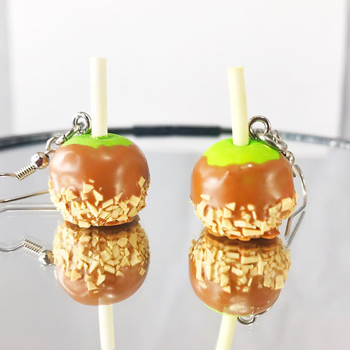 Polymer Clay Caramel Apple with Nuts Earrings