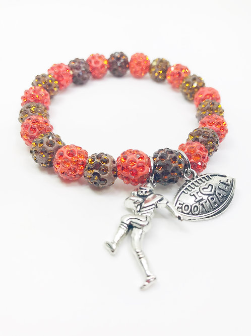 Brown & Orange Pave Disco Beaded Football Stretch Bracelet