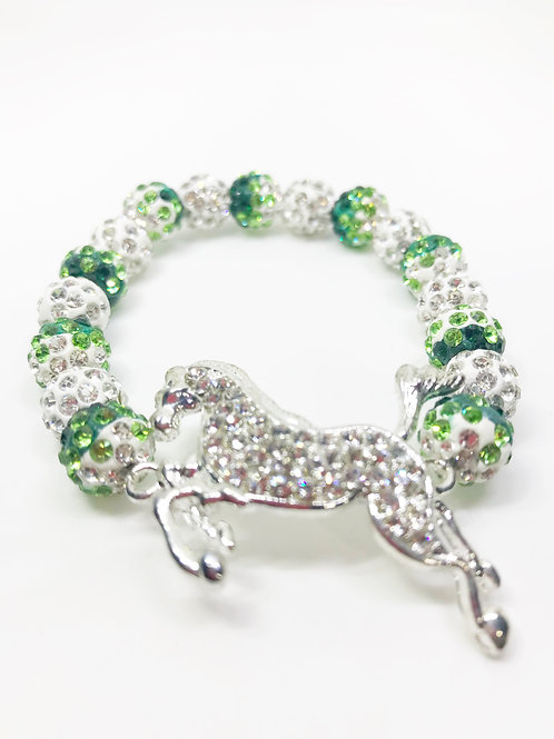 Green Gradient & White Pave Disco Beaded Rhinestone Horse Stretch Bracelet