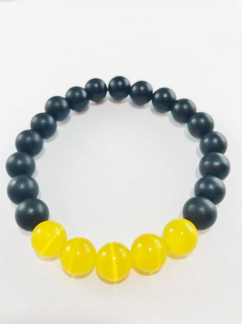 Yellow Tiger Eye Matte Black Beaded Stretch Bracelet