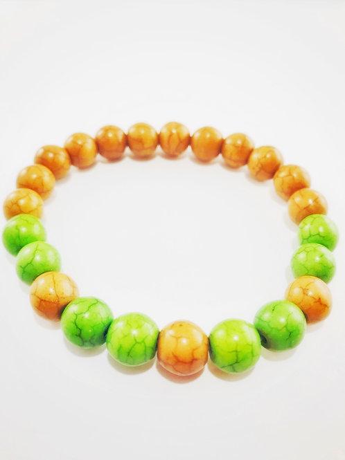 Tan & Green Natural Beaded Stretch Bracelet