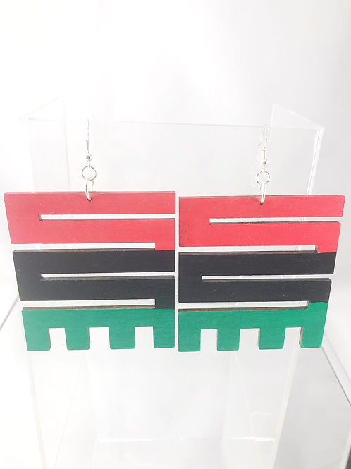 Hand Painted Nkyinkyim Wooden Earrings