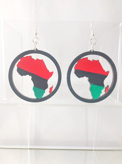 Hand Painted Africa Wooden Earrings