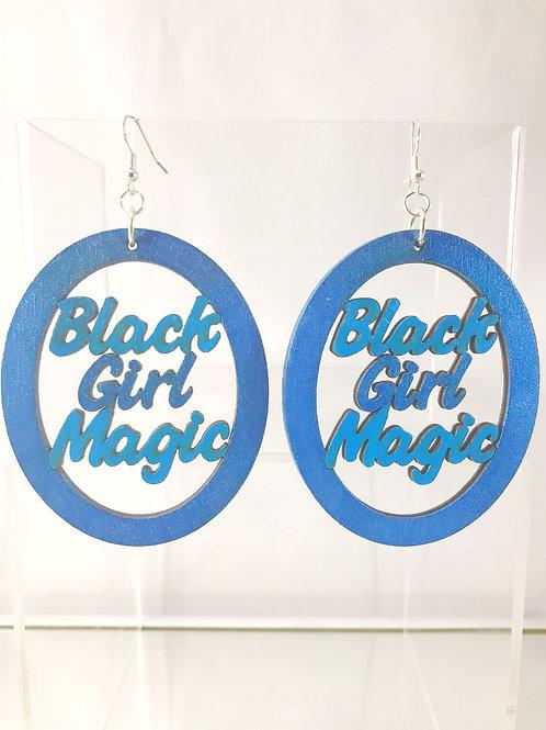 Hand Painted Black Girl Magic Wooden Earrings