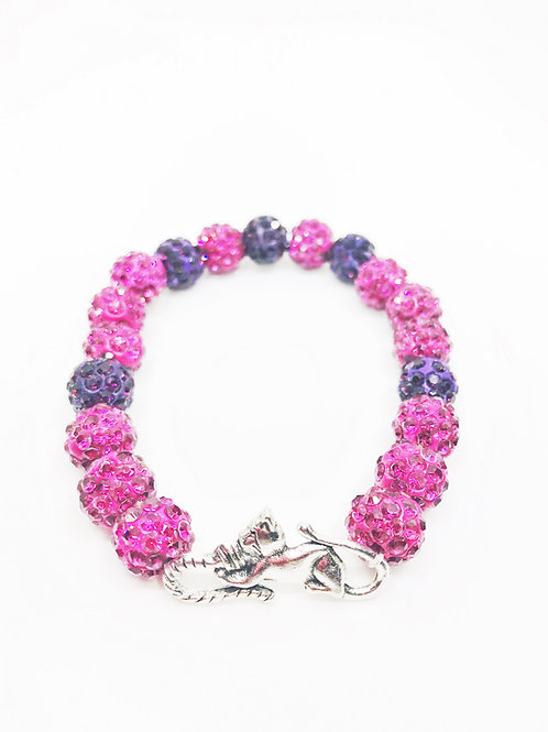 Fuchsia & Purple Pave Disco Beaded Cat Stretch Bracelet