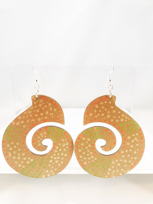 Hand Painted Large Wooden Earrings