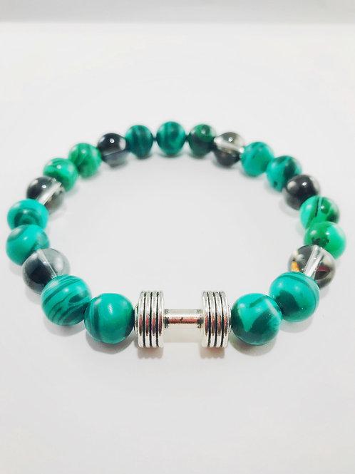 Green Natural Black Translucent Black Glass Beaded Barbell Stretch Bracelet