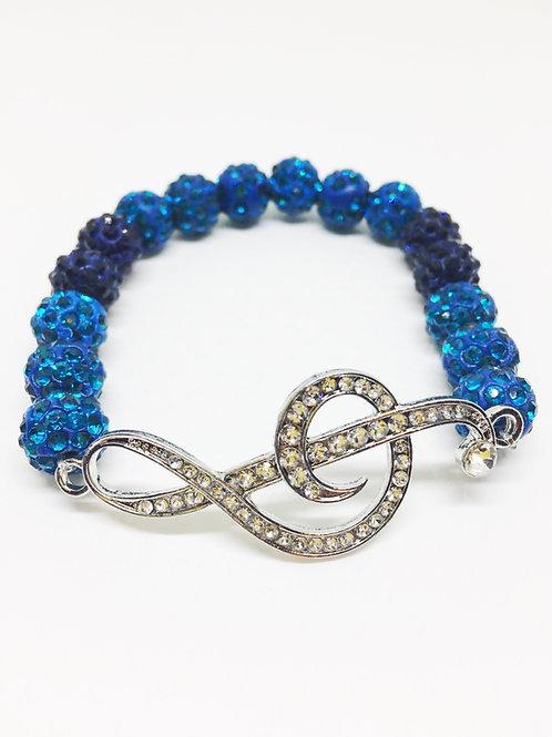 Lake Blue & Navy Blue Pave Disco Beaded Rhinestone Treble Clef Stretch Bracelet