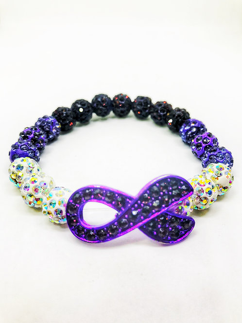 Purple & White Iridescent Pave Disco Beaded Purple Ribbon Stretch Bracelet