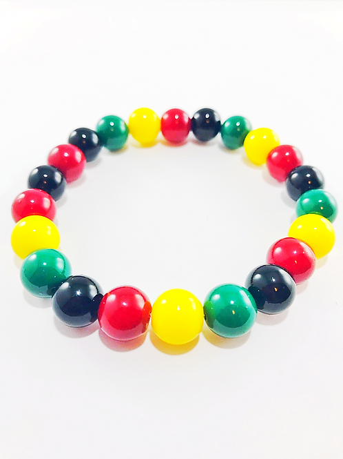 Black Green Yellow Red Glass Beaded Stretch Bracelet