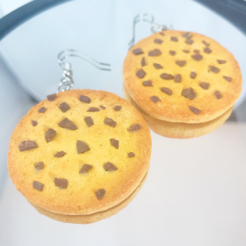 Polymer Clay Chocolate Chip Cookie Earrings