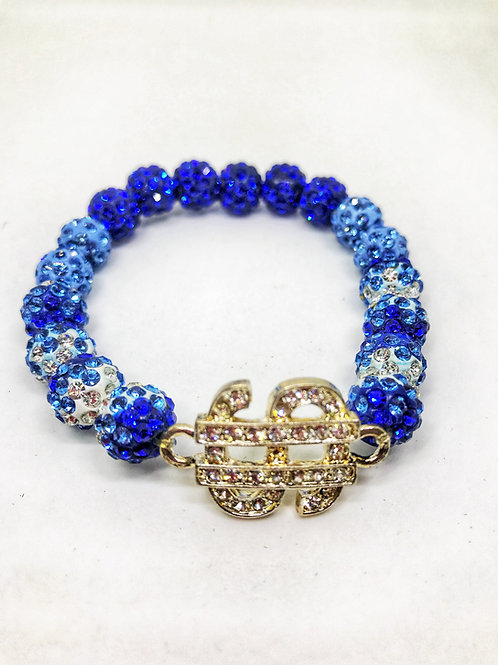 Blue & White Pave Disco Beaded Rhinestone Money Sign Stretch Bracelet
