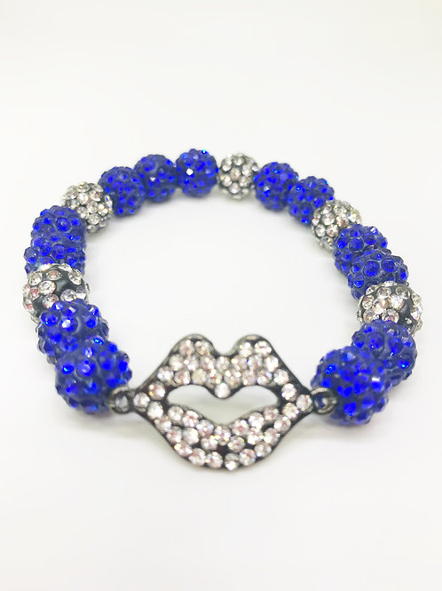 Sapphire Blue & Black Pave Disco Beaded Rhinestone Lips Stretch Bracelet