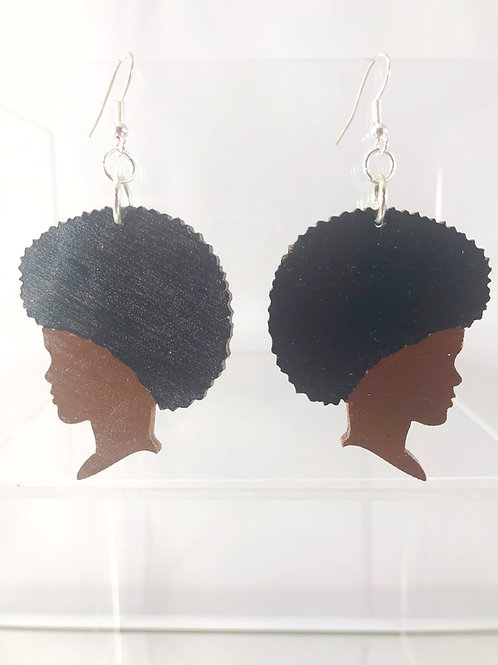 Hand Painted Side Profile Wooden Earrings
