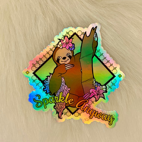 Lala the Sloth Holographic Sticker