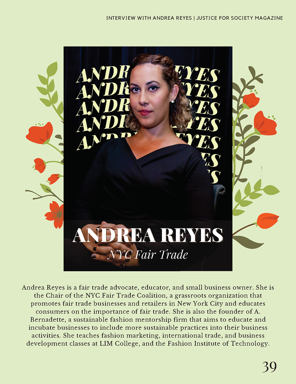 Andrea B. Reyes Sustainable Fashion Mentor A. Bernadette Harlem NYC