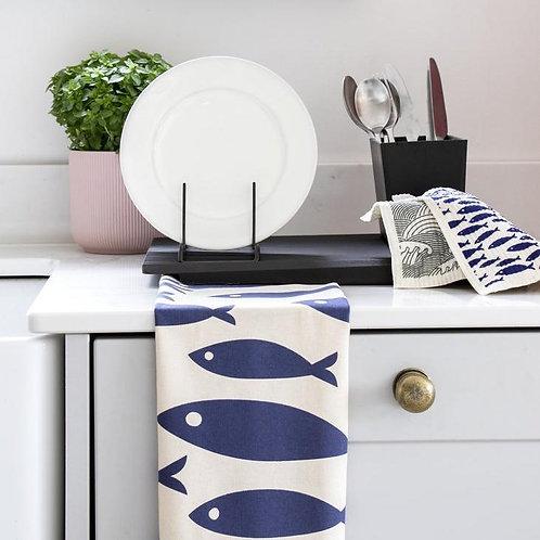 Organic Tea Towel | Fish | Navy