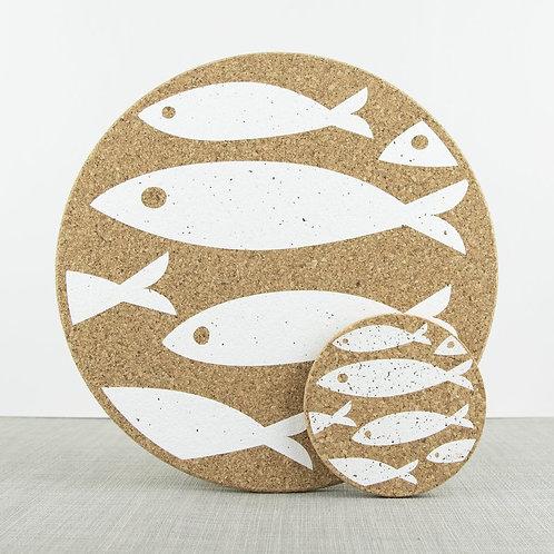 Cork Mats | Fish | White