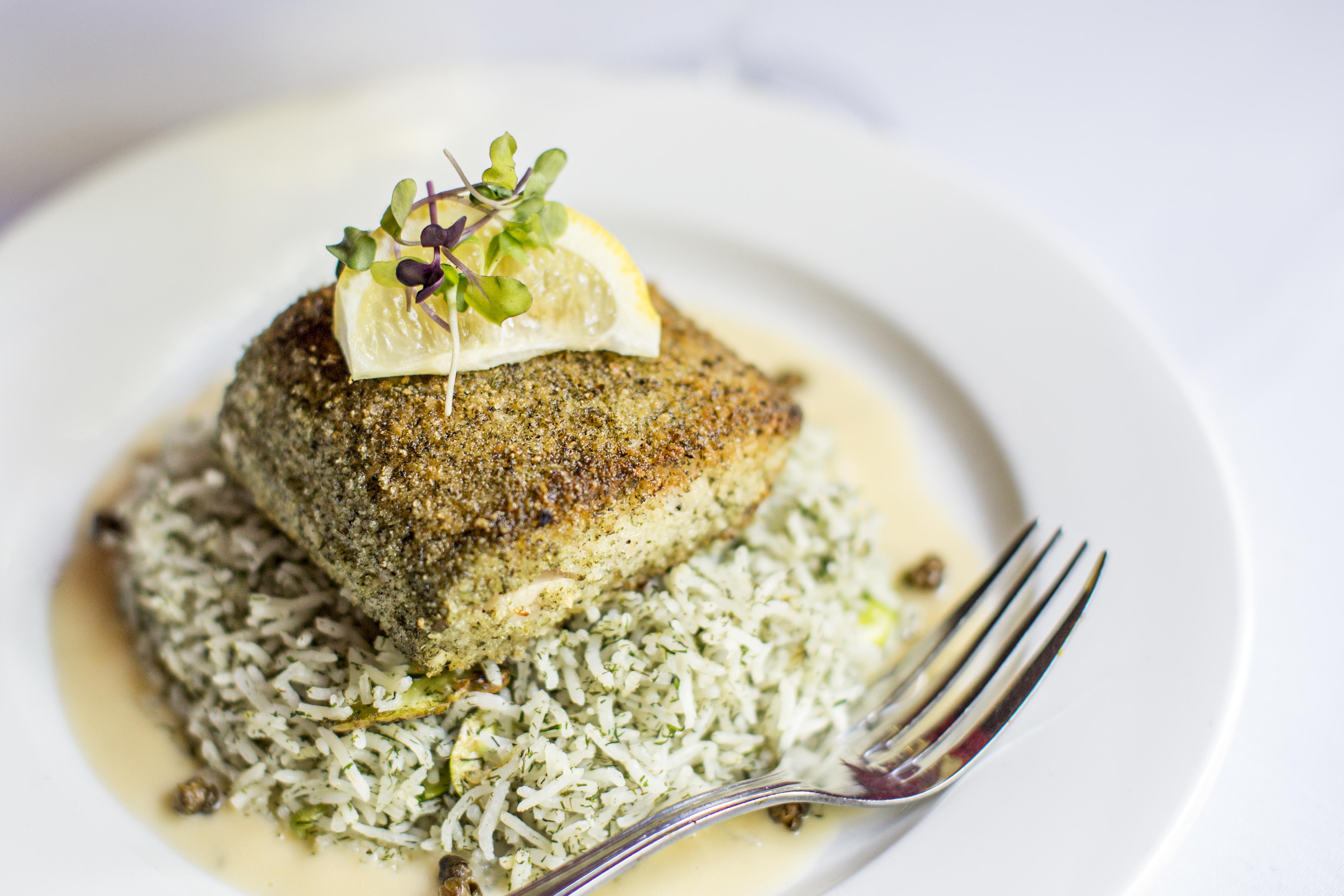 Mahi Dill Fava Bean Rice Divan Restaurant Atlanta