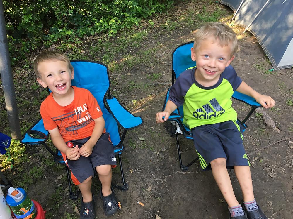 Boys having fun camping