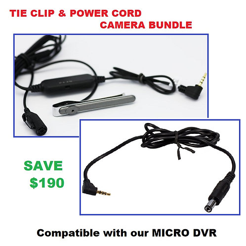 Tie Clip & Power Cord Covert Camera Bundle - LawMate