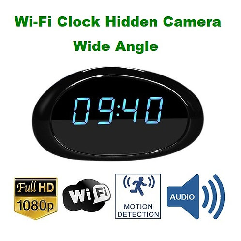 Wi-Fi Hidden Camera Clock - Wide Angle - 1080P Full HD