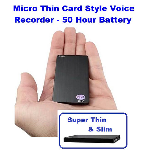 Micro Thin Card Style Voice Recorder - 50 Hour Battery